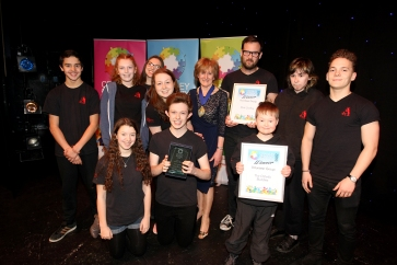 Crawley Community Awards 2016. Matt Godfrey and The Othello Buddies receive the Volunteer group award from Cllr Patricia Arculus, Chairman of West Sussex County Council. Photo by Derek Martin