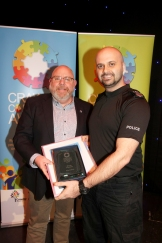 Crawley Community Awards 2016. Ray Collins receives the Volunteer award from Sgt Anthony Cheeseman on behalf of Sussex Police. Photo by Derek Martin