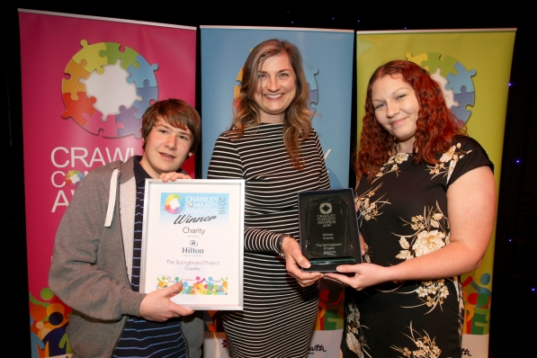 DM1617789a.jpg Crawley Community Awards 2016. Victoria Sant presents the Charity award to The Springboard Project on behalf of Gatwick Hilton. Photo by Derek Martin
