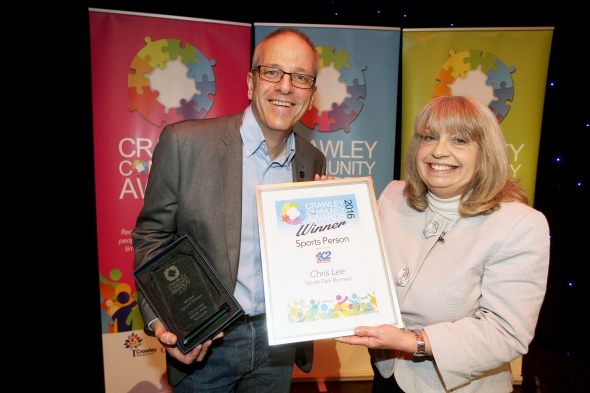 Crawley Community Awards 2016. Chris lee receives the Sports Person award from Gloria Newstead on behalf of K2. Photo by Derek Martin