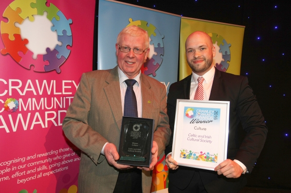 Crawley Community Awards 2016. The Culture award is presented to John Nolan of the Celtic and Irish Cultural Society by Cllr Peter Lamb, Leader of Crawley Borough Council. Photo by Derek Martin