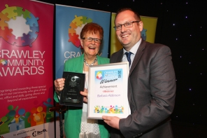 Crawley Community Awards 2016. Barbara Alderson receives the Achievement Award from sports editor Mark Dunford. Photo by Derek Martin
