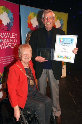 Crawley Community Awards 2016. The Mayor of Crawley Cllr Chris Cheshire presents the Local Hero award to Phil Hayes. Photo by Derek Martin