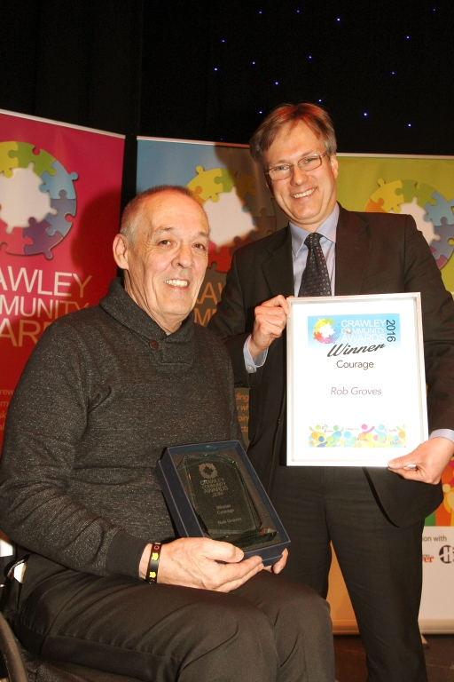 Crawley Community Awards 2016. Henry Smith MP presents the award for courage to Robert Groves. Photo by Derek Martin.