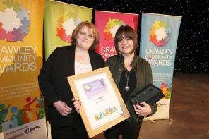 DM17311500a.jpg. Crawley Community Awards, 2017. Louisa Corley receves the Fundraiser award from Karen Dunn. Photo by Derek Martin