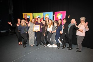 DM17311542a.jpg. Crawley Community Awards, 2017. Winners of the Performing Arts award - COS Musical Theatre, presented by Dave Watmore. Photo by Derek Martin