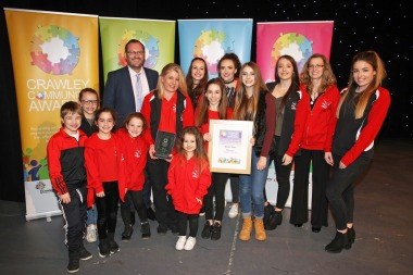 DM17311525a.jpg. Crawley Community Awards, 2017. Sports Team winners - Flitecrew, presented by Mark Dunford Photo by Derek Martin