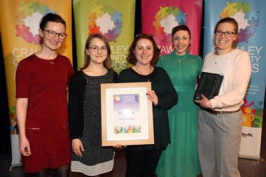 DM17311601a.jpg. Crawley Community Awards, 2017. Rape Crisis Surrey and Sussex, Winners of the Supprt Group award, presented by Katie Bennett. Photo by Derek Martin