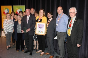 DM1841992a.jpg. Crawley Community Awards 2018. Charity winner, St Catherine's Hospice, presented by Councillor Peter Smith. Photo by Derek Martin Photography.