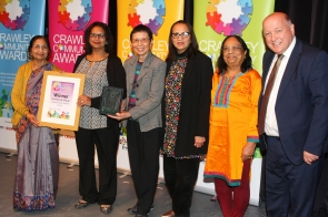 DM1842051a.jpg. Crawley Community Awards 2018. Community Group, Saathi Elderly Ladies Group, presented by Martin Harris Managing Director, Metrobus. Photo by Derek Martin Photography.