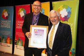 DM1842102a.jpg. Crawley Community Awards 2018. Culture, Dave Watmore, General Manager, The Hawth, presneted by Councillor Chris Mullins. Photo by Derek Martin Photography.