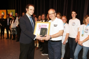 DM1842091a.jpg. Crawley Community Awards 2018. Group Achievement, Worth Way Runners, presented by Tim Harris, Editor, Crawley Observer. Photo by Derek Martin Photography.