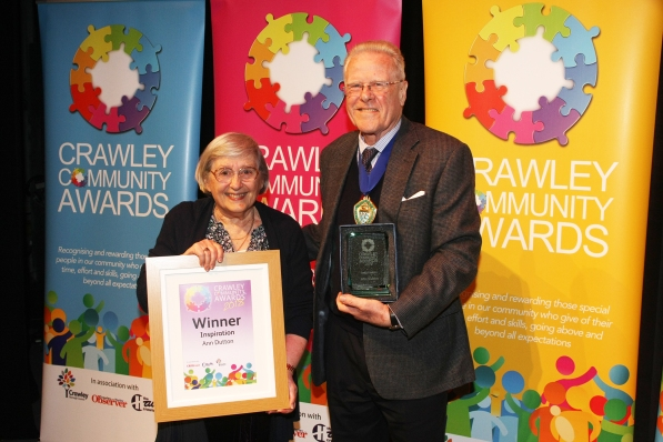 DM1842060a.jpg. Crawley Community Awards 2018. Inspiration Ann Dutton, presented by Coucillor Lionel Barnard, Chairman of West Sussex County Council. Photo by Derek Martin Photography.