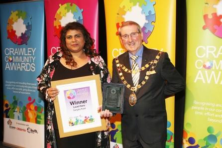 DM1842055a.jpg. Crawley Community Awards 2018. Local Hero, Sangita Patel, presented by the Mayor of Crawley, Councillor Brian Quinn. Photo by Derek Martin Photography.
