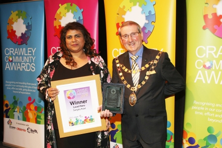 DM1842055a.jpg. Crawley Community Awards 2018. Local Hero, Sangita Patel, presented by the Mayor of Crawley, Councillor Brian Quinn. Photo by Derek Martin Photography.