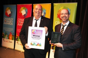 DM1842001a.jpg. Crawley Community Awards 2018. Special Recognition, Renny Richardson presented by Chris Harris, Head of Community Services, Crawley Borough Council. Photo by Derek Martin Photography.