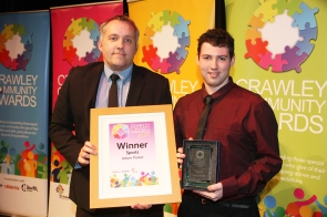 DM1842032a.jpg. Crawley Community Awards 2018. Sports, Adam Parker, presented by Dave Downey, Active Communities Officer, K2 Crawley. Photo by Derek Martin Photography.