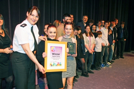 DM1842023a.jpg. Crawley Community Awards 2018. Support Group, Crawley Community Youth Service presented by Inspector Joanne Webb. Photo by Derek Martin Photography.