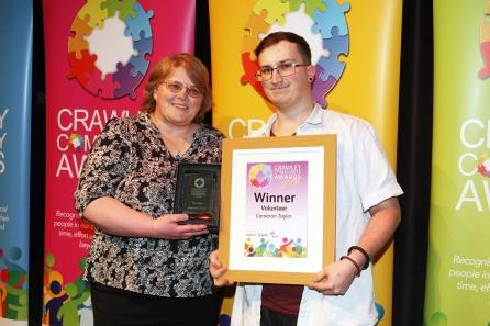 DM1841987a.jpg. Crawley Community Awards 2018. Volunteer winner, Cameron Taylor, presented by Karen Dunn on behalf of the Crawley Observer. Photo by Derek Martin Photography.
