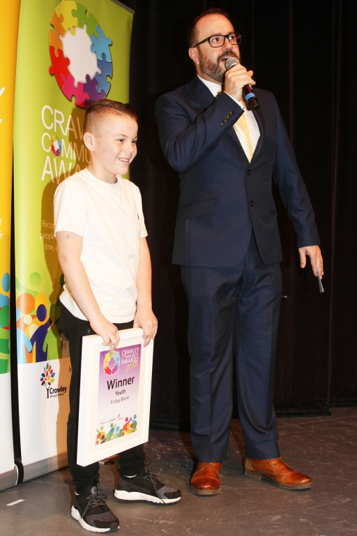 DM1842069a.jpg. Crawley Community Awards 2018. Youth, Finlay Brent. Photo by Derek Martin Photography.